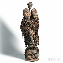 African-style Carved and Painted Wood and Nail Double-headed Power Figure