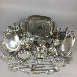 Large Group of Silver-plated Flatware and Tableware and Three Sterling Silver Dishes
