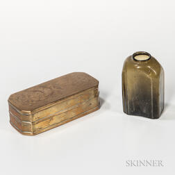 Brass Tobacco Box and Blown Glass Snuff Bottle
