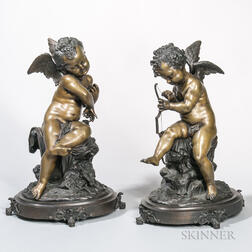 Large Pair of Bronze Cherubs