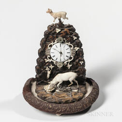 Miniature Carved Wood and Bone Zappler Clock