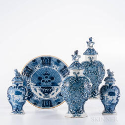 Five Pieces of Dutch Blue and White Delft