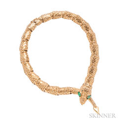 14kt Gold Gem-set Snake Necklace, Eric de Kolb