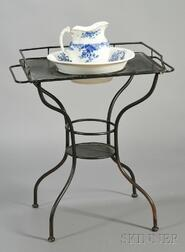 Continental Black-painted Tin Washstand and an Associated Wash Basin and Pitcher