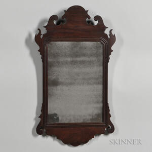 Mahogany Veneer Chippendale Scroll-frame Mirror