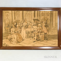 Large Framed Marchetti Tapestry Depicting a Parlor Scene