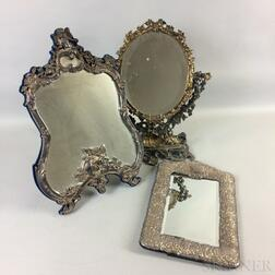 Three Silver and Silver-plate Framed Mirrors