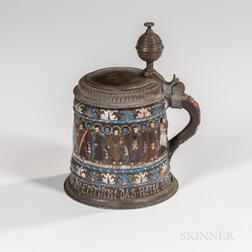 Kreussen Pewter-mounted Apostle Tankard