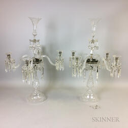 Two American Cut Colorless Glass Four-light Candelabra