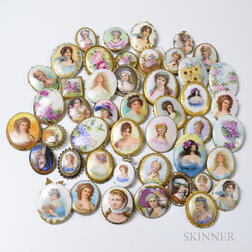 Large Group of Enameled Portrait Brooches.
