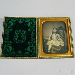 Half-plate Daguerreotype Portrait of a Little Girl Seated in a Gothic Chair