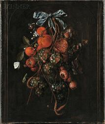 Cornelis De Heem (Flemish, 1631-1695), Autumn Still Life with Pomegranates, Chestnuts, Oranges, White and Red Grapes, Plums, Wheat, and