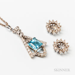 14kt White Gold, Diamond, and Aquamarine Pendant and Pair of 14kt White Gold and Diamond Jackets