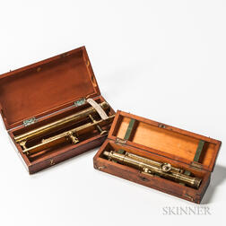 Two Lacquered-brass-cased Sighting Scopes
