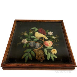 Two Framed Stumpwork Pictures of Flowers, Fruit, and a Bird