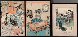 Five Woodblock Prints in Three Frames