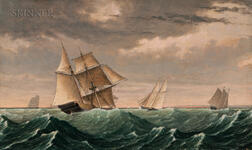 Fitz Henry Lane (Massachusetts, 1804-1865)      Vessel Returning from Surinam