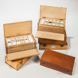 Six Double-hinged Boxes of Microscope Slides
