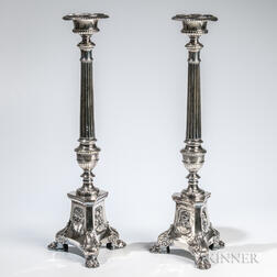 Pair of Silver-plated Ecclesiastic Pricket Candlesticks