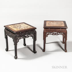 Pair of Low Marble-top Stands