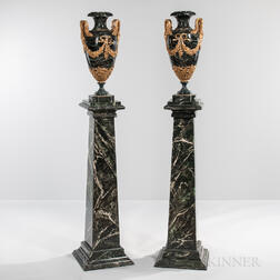 Pair of Louis XVI-style Variegated Marble Cassolettes with Faux Marble Stands