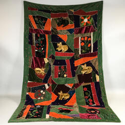 Velvet Crazy Quilt with Cats and Flowers