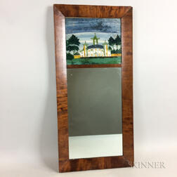 Country Reverse-painted Mahogany Mirror