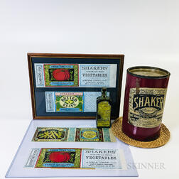 Four Shaker Lithographed Labels, a Baking Powder Cannister, and a Sarsaparilla Bottle.     Estimate $200-400