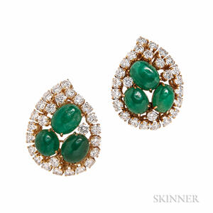 18kt Gold, Emerald, and Diamond Earclips