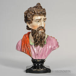 Staffordshire Pearl-glazed Earthenware Bust of Plato