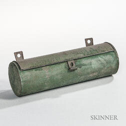 Green-painted Tin Candle Box