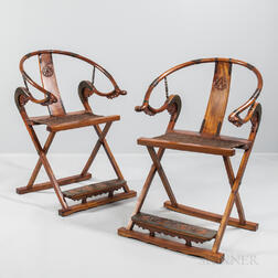Pair of Huanghuali Horseshoe-back Jiaoyi   Folding Armchairs