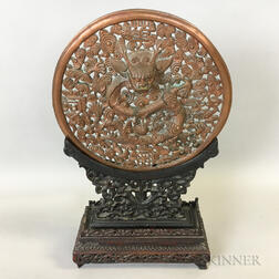 Copper Openwork Repousse Disc on Wood Stand