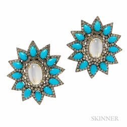 Moonstone, Turquoise, and Diamond Earrings