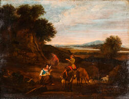 Dutch School, 17th Century Style      Shepherdess with a Distaff with Other Figures and Animals in a Landscape