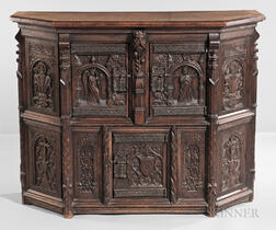 Belgian Gothic Revival Carved Walnut Cabinet
