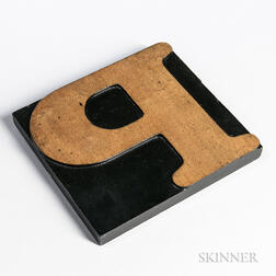 "Oversized Carved Wood Printing Block Letter ""P,"""