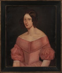 American School, Mid-19th Century      Portrait of a Woman in a Pink Dress