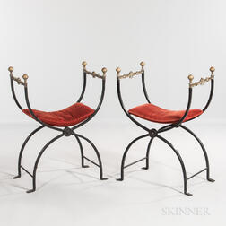 Pair of Renaissance Revival Iron and Bronze Savonarola Chairs