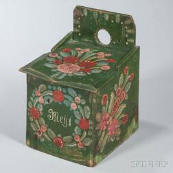 Green-painted and Paint-decorated Hanging Flour Box