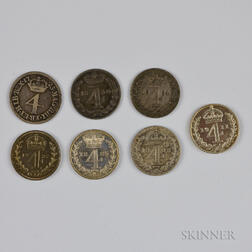 Seven British 4 Pence Maundy Coins