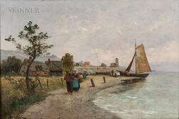 Dutch School, 19th/20th Century      Shore View with Fisherfolk
