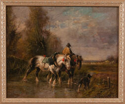 Continental School, 19th/20th Century      Draft Horses Crossing a Stream