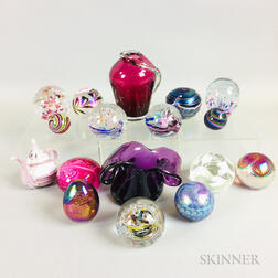 Fifteen Glass Paperweights and Two Glass Marbles
