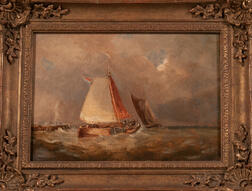 Dutch or Belgian School, 19th Century      Coastal View with Sailing Vessels Facing a Storm