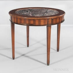 Marble-top Mahogany and Mahogany-veneered Center Table