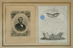 Framed March 6, 1865, Abraham Lincoln Signed U.S. Presidential Military   Commission