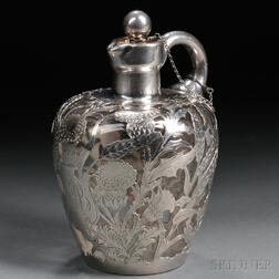 Sterling Silver Overlay Art Nouveau-style Stoppered Decanter