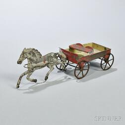 Tinned Sheet Iron Toy Horse and Wagon