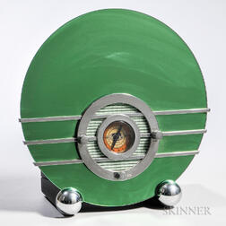Spartan-style Mirrored Glass, Chrome, and Plastic Radio